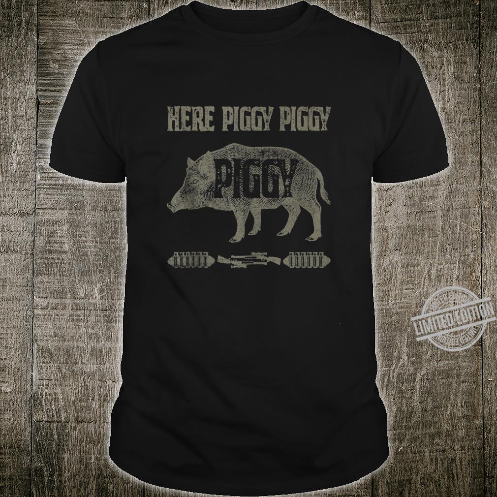 Vintage Piggy Hunting Hog Boar Hunter Vacation Shirt