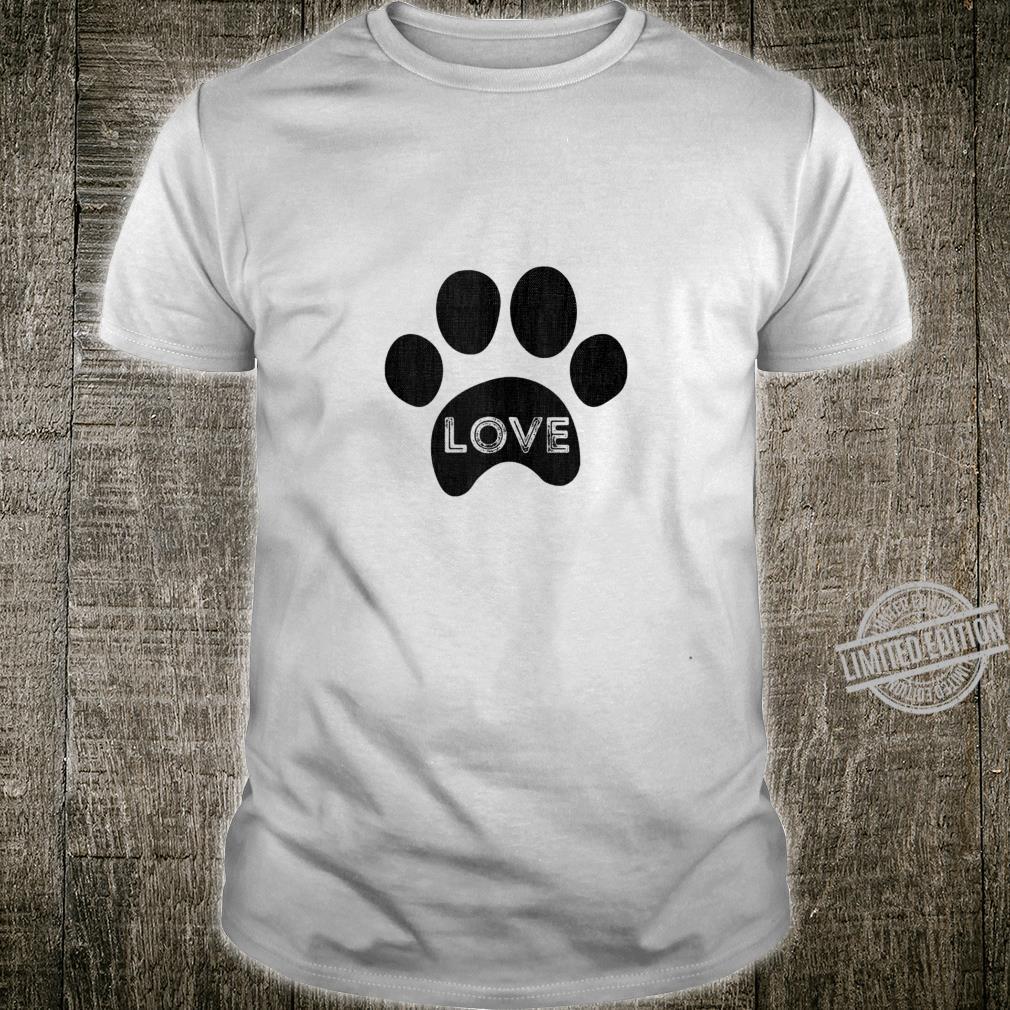 Vintage puppy dog paw, pet design, I Love dog Shirt