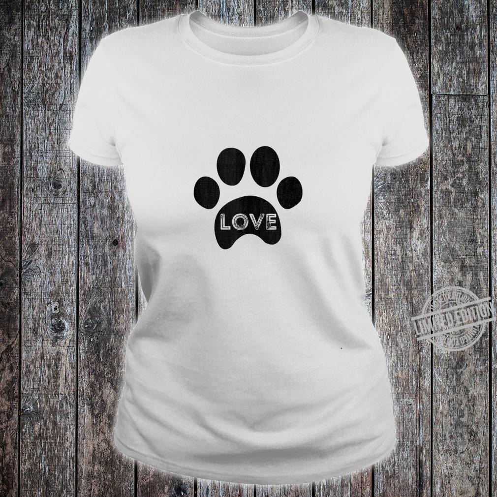 Vintage puppy dog paw, pet design, I Love dog Shirt ladies tee