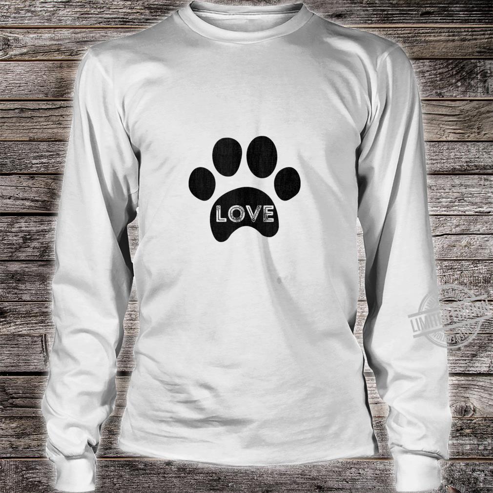 Vintage puppy dog paw, pet design, I Love dog Shirt long sleeved
