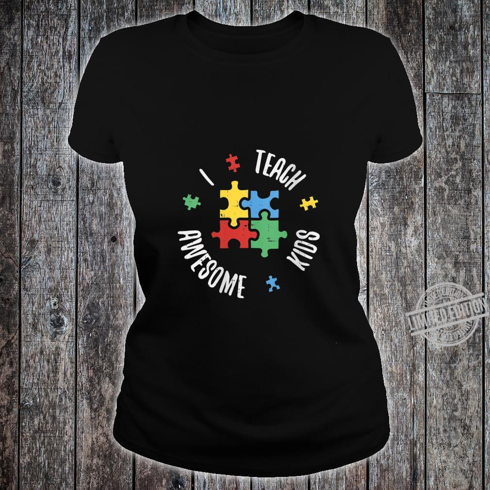 Womens Autism Awareness Teacher Shirt Teach Awesome Special Ed Shirt ladies tee