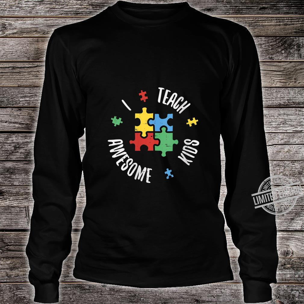 Womens Autism Awareness Teacher Shirt Teach Awesome Special Ed Shirt long sleeved