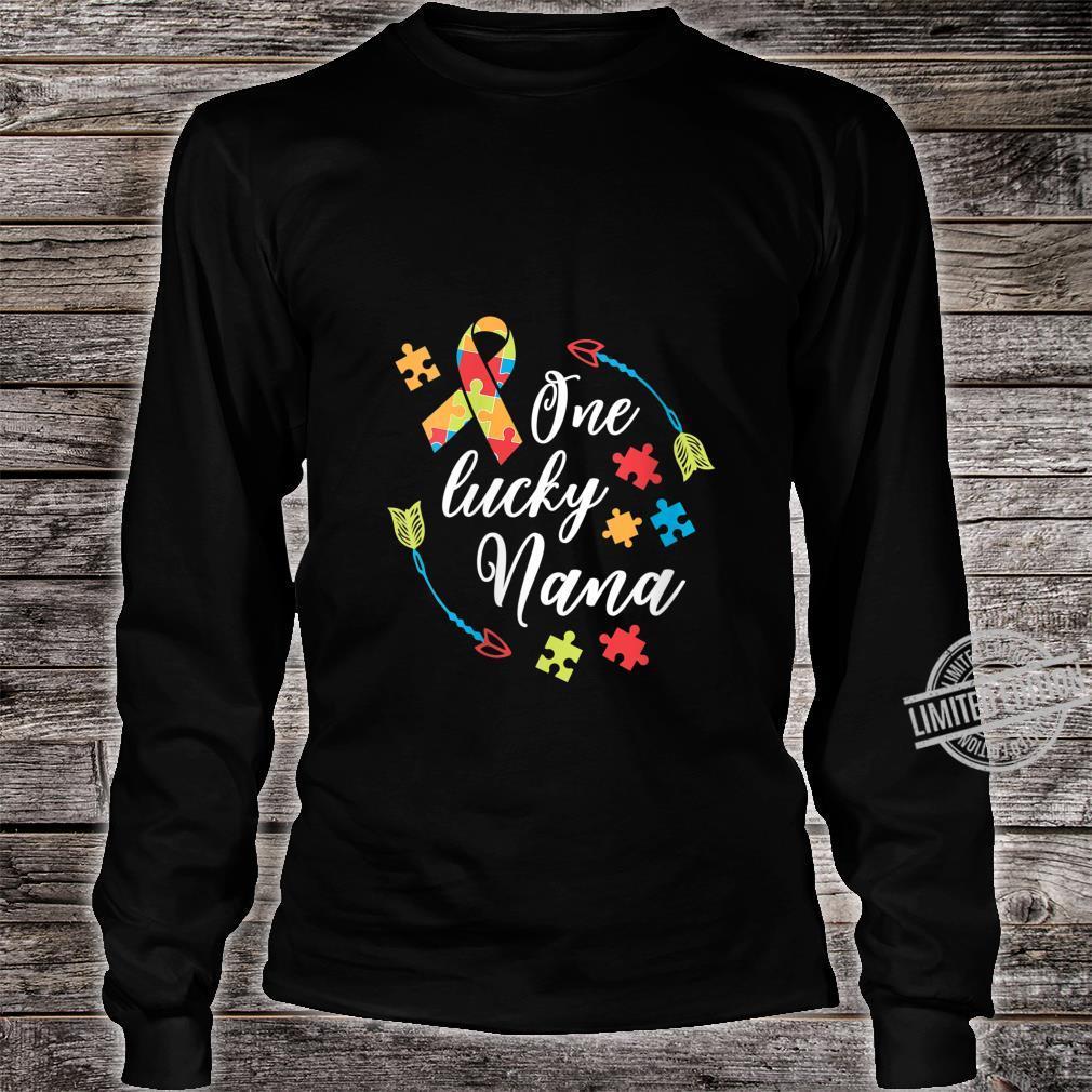 Womens Autism Nana One Lucky Nana Autism Awareness Shirt long sleeved