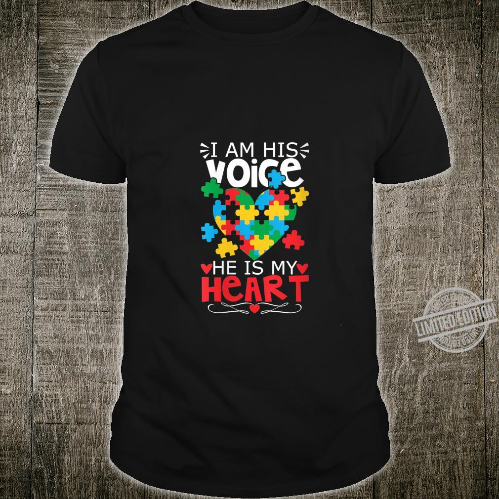 Womens Autism Puzzle Piece Heart I Am His Voice's Autism Mom Shirt