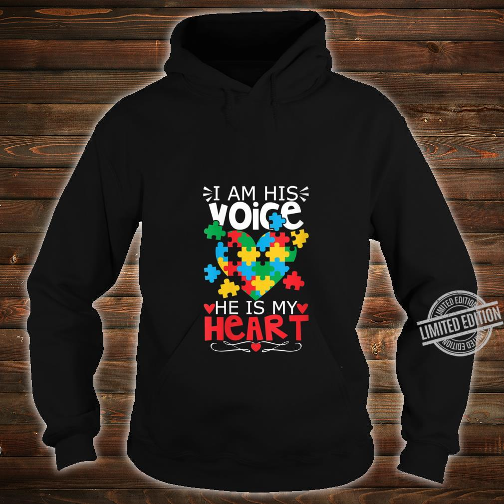 Womens Autism Puzzle Piece Heart I Am His Voice's Autism Mom Shirt hoodie