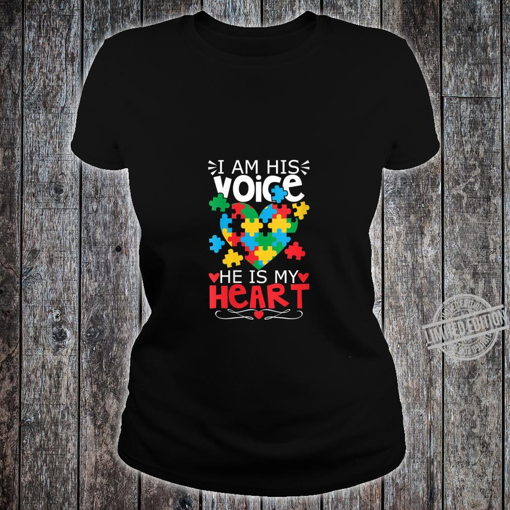 Womens Autism Puzzle Piece Heart I Am His Voice's Autism Mom Shirt ladies tee