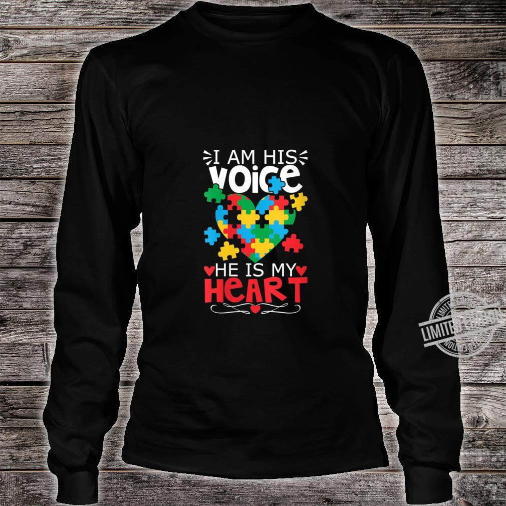 Womens Autism Puzzle Piece Heart I Am His Voice's Autism Mom Shirt long sleeved