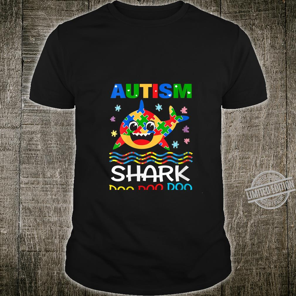 Womens Autism Shark Doo Doo Doo Autism Awareness Month Shirt