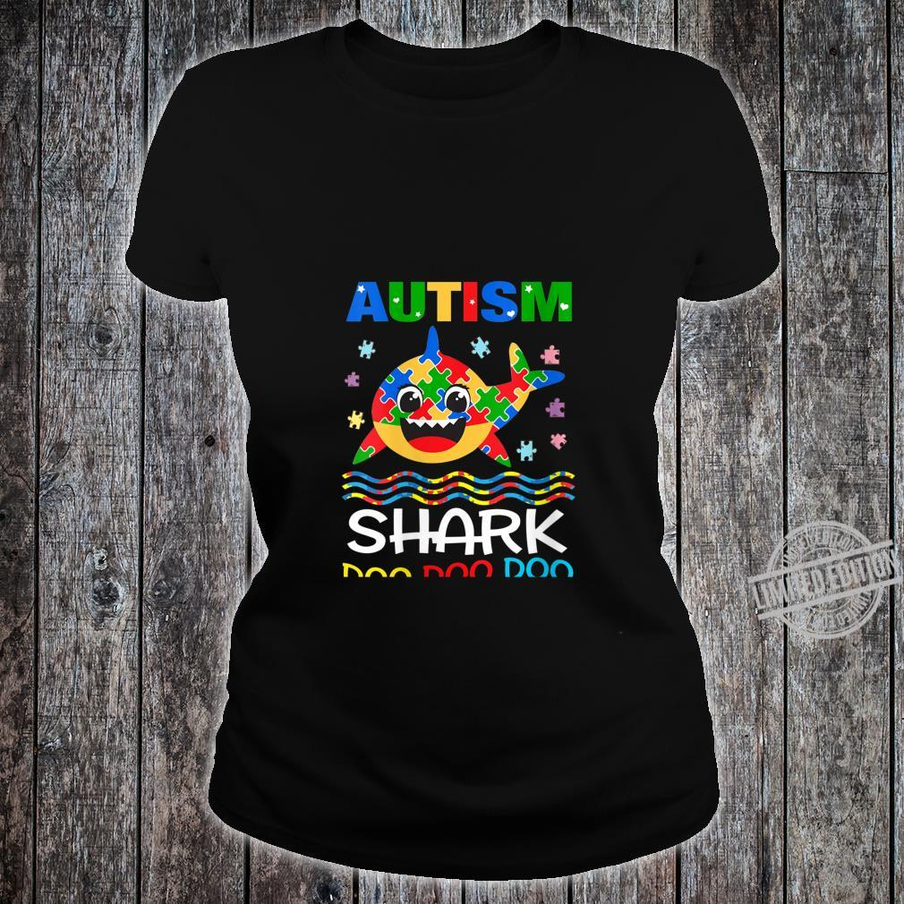 Womens Autism Shark Doo Doo Doo Autism Awareness Month Shirt ladies tee
