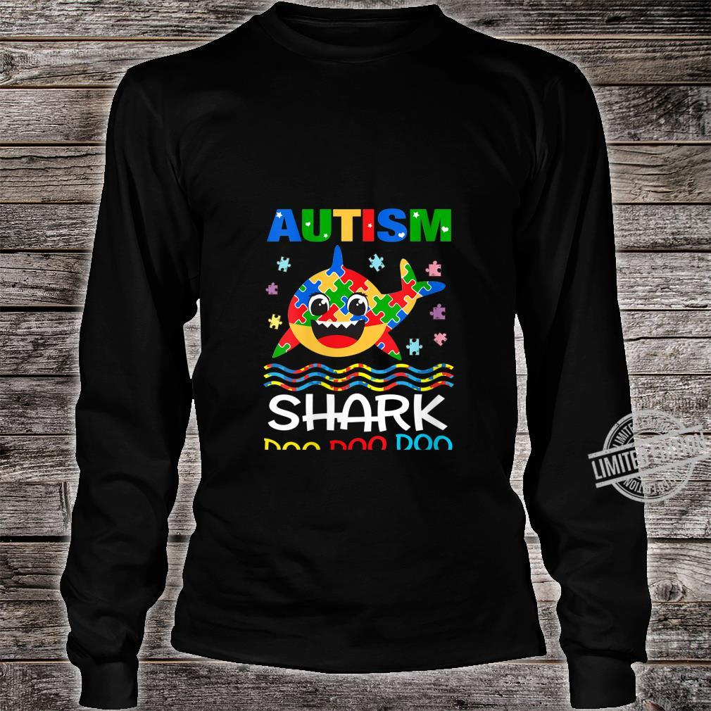 Womens Autism Shark Doo Doo Doo Autism Awareness Month Shirt long sleeved