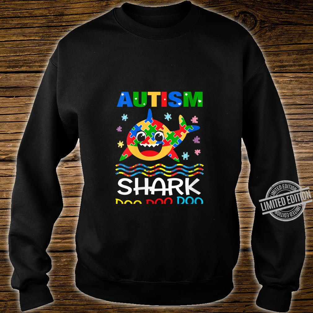 Womens Autism Shark Doo Doo Doo Autism Awareness Month Shirt sweater
