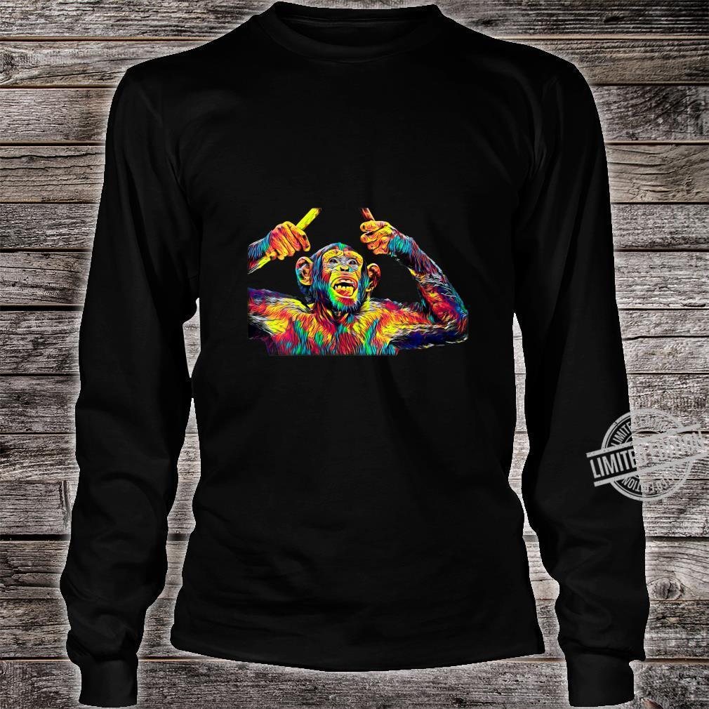 Womens Monkey Drummer Shirt long sleeved