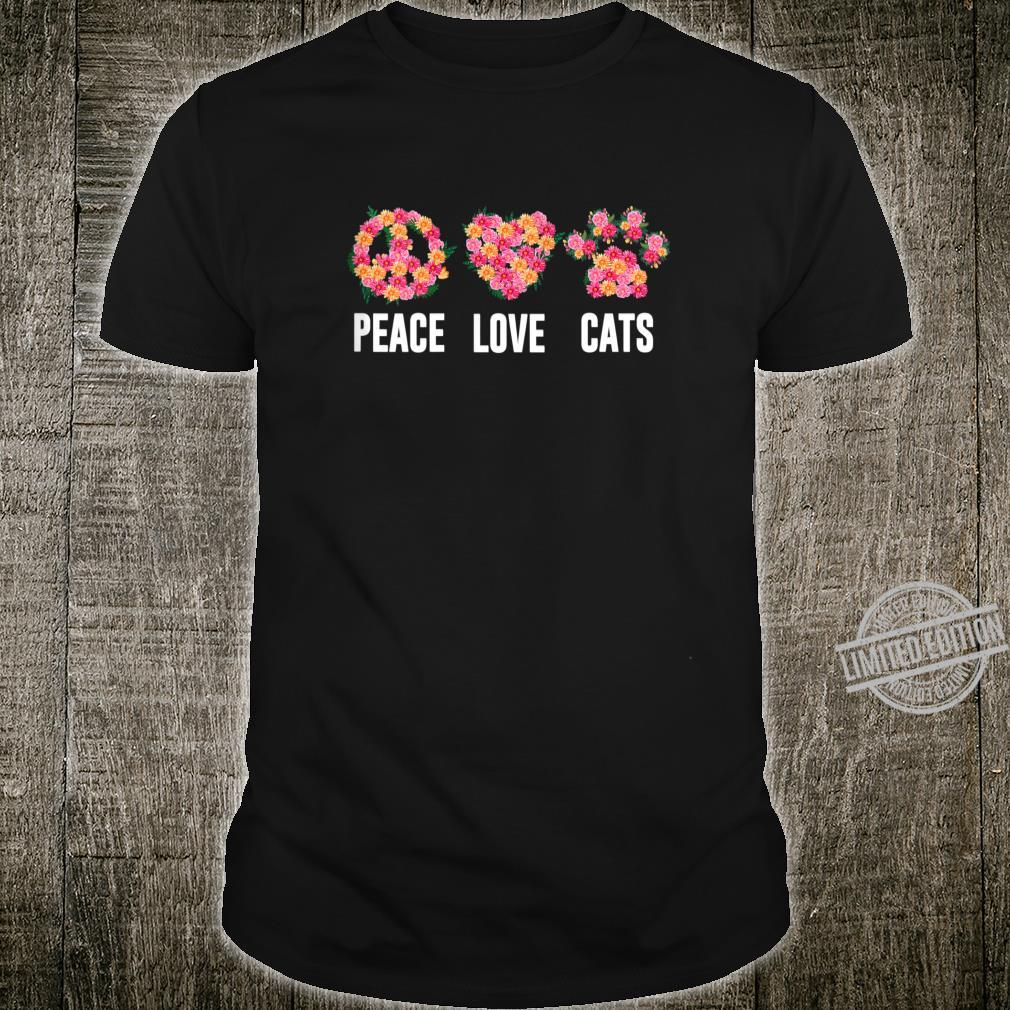 Womens Peace Love Cat Cute Cats Hippie Shirt