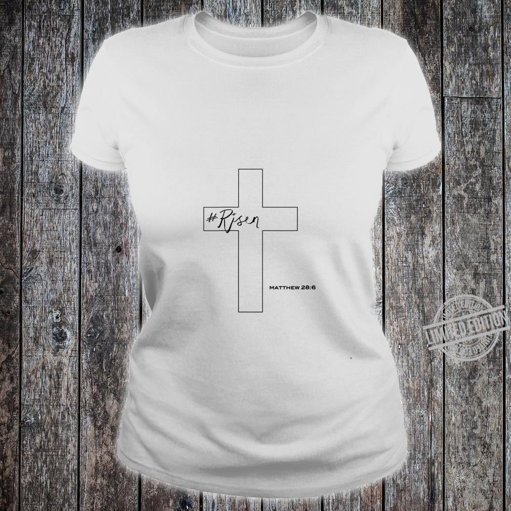 Womens Risen Christian Cross Shirt ladies tee