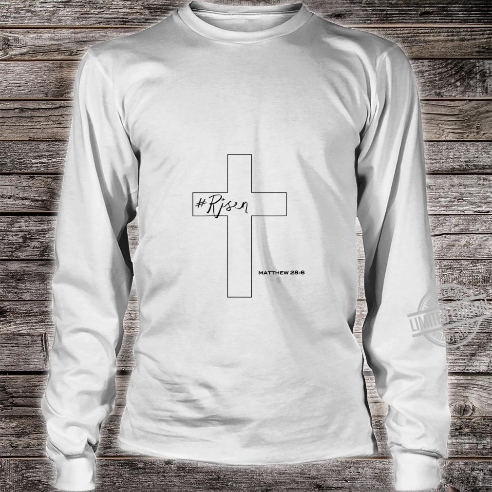 Womens Risen Christian Cross Shirt long sleeved