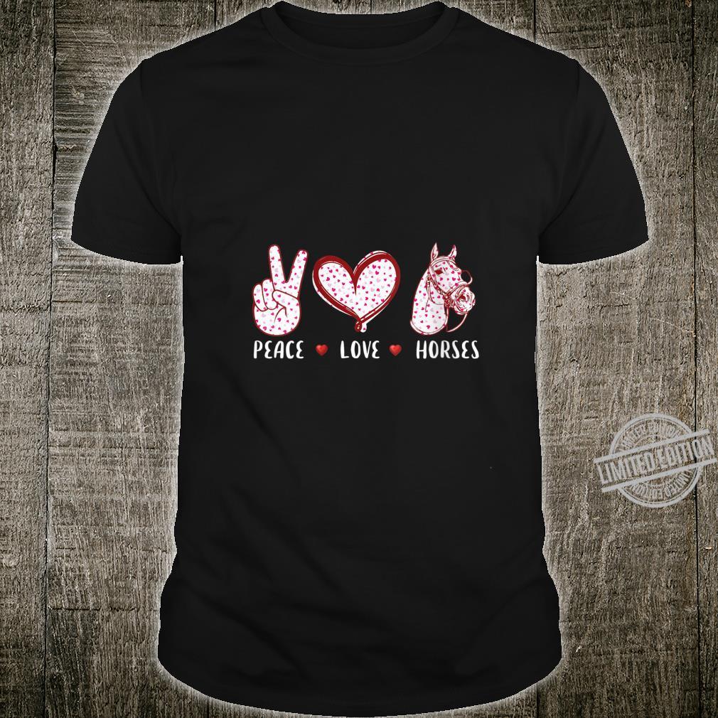 Womens peace love horses Horseback Riding Horse Shirt