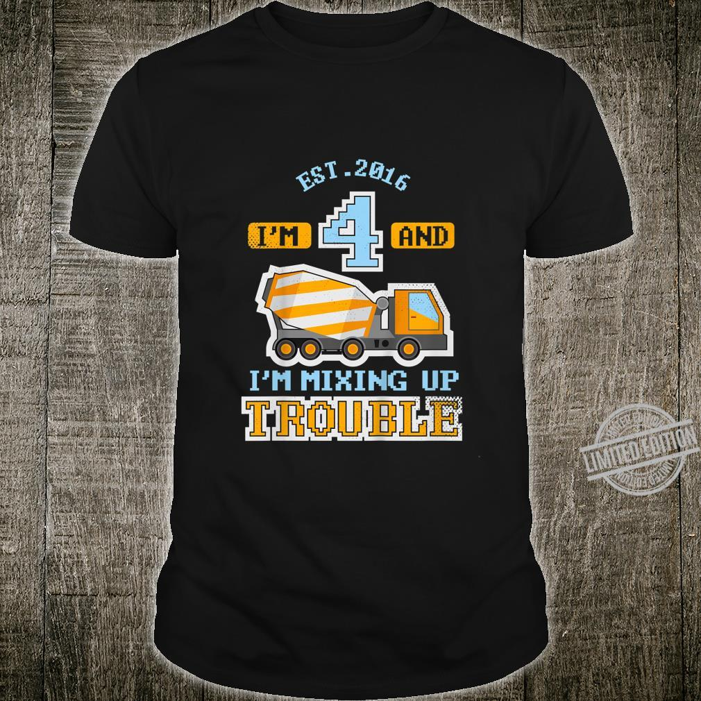 Youth 4th Birthday 4 Year Old Boy Concrete Mixer Truck Shirt