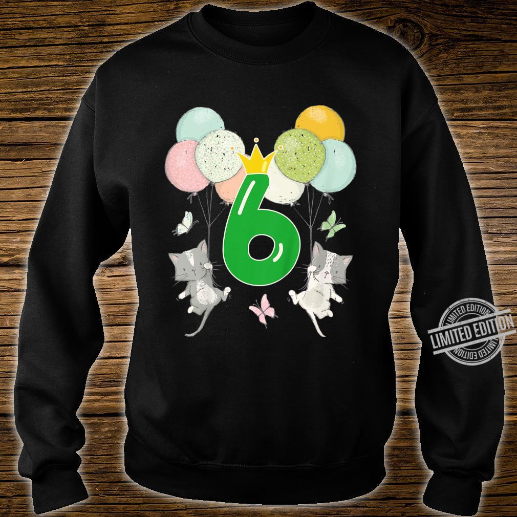 Youth Birthday 6 Years Boy Girl Number Cats Balloons Shirt sweater
